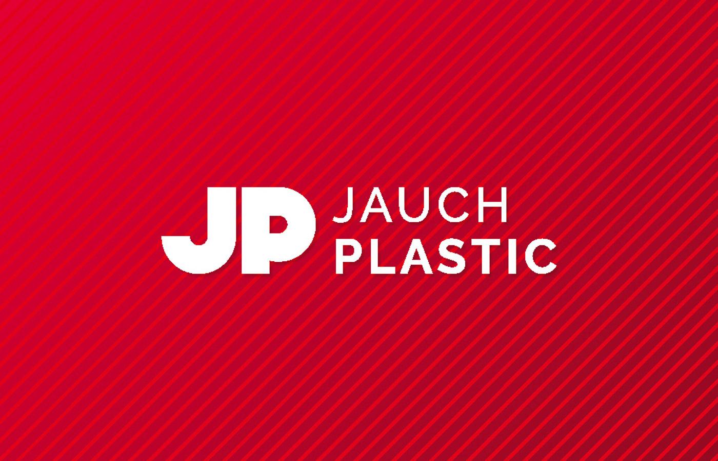 Jauch Plastic-Logo auf rotem Hintergrund
